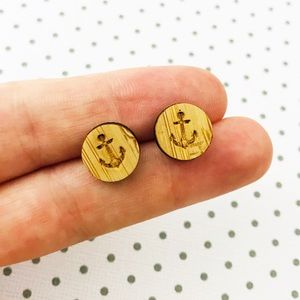 Round Wooden Earrings Anchor Nautical Stud
